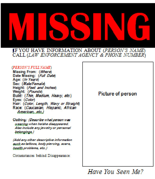 Missing Person Poster Template 21 Free Missing Poster Word Excel formats