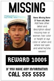 Missing Person Poster Template 70 Customizable Design Templates for Missing