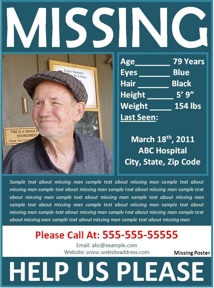 Missing Person Poster Template Missing Poster Template