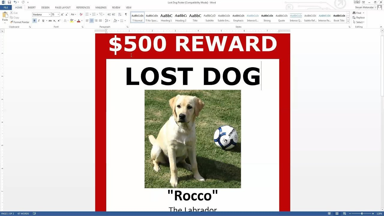Missing Pet Poster Template Lost Dog Poster Template Free Download Ms Word