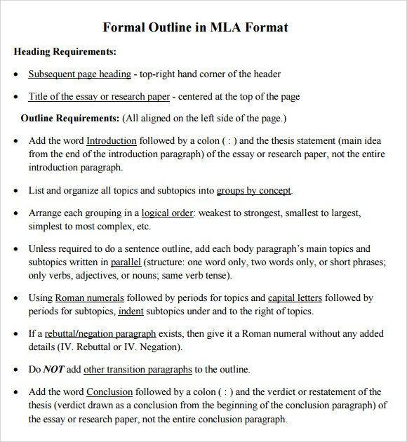 Mla format Outline Template 11 Sample Mla Outline Templates Pdf Word