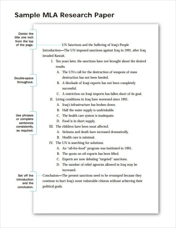 Mla format Outline Template Mla format Template