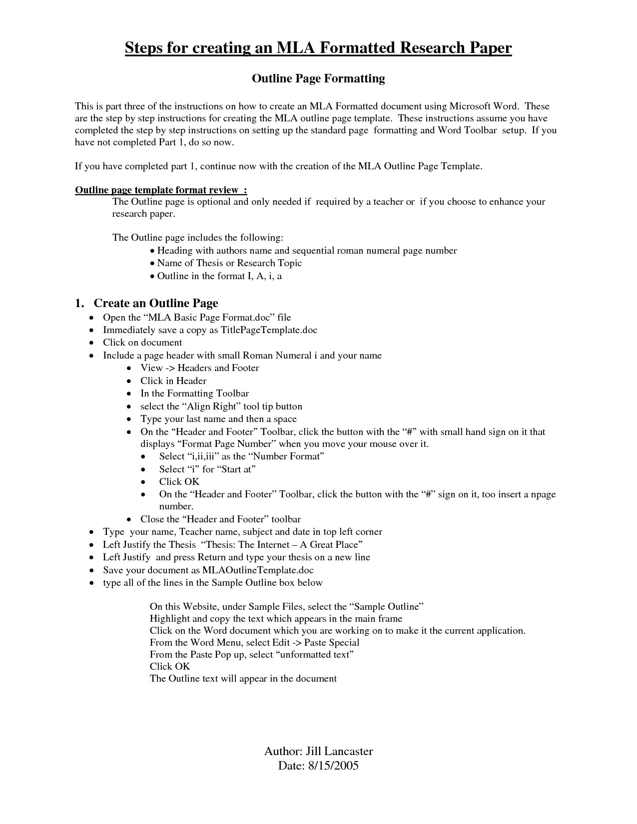 Mla format Outline Template Research Paper Apa Outline