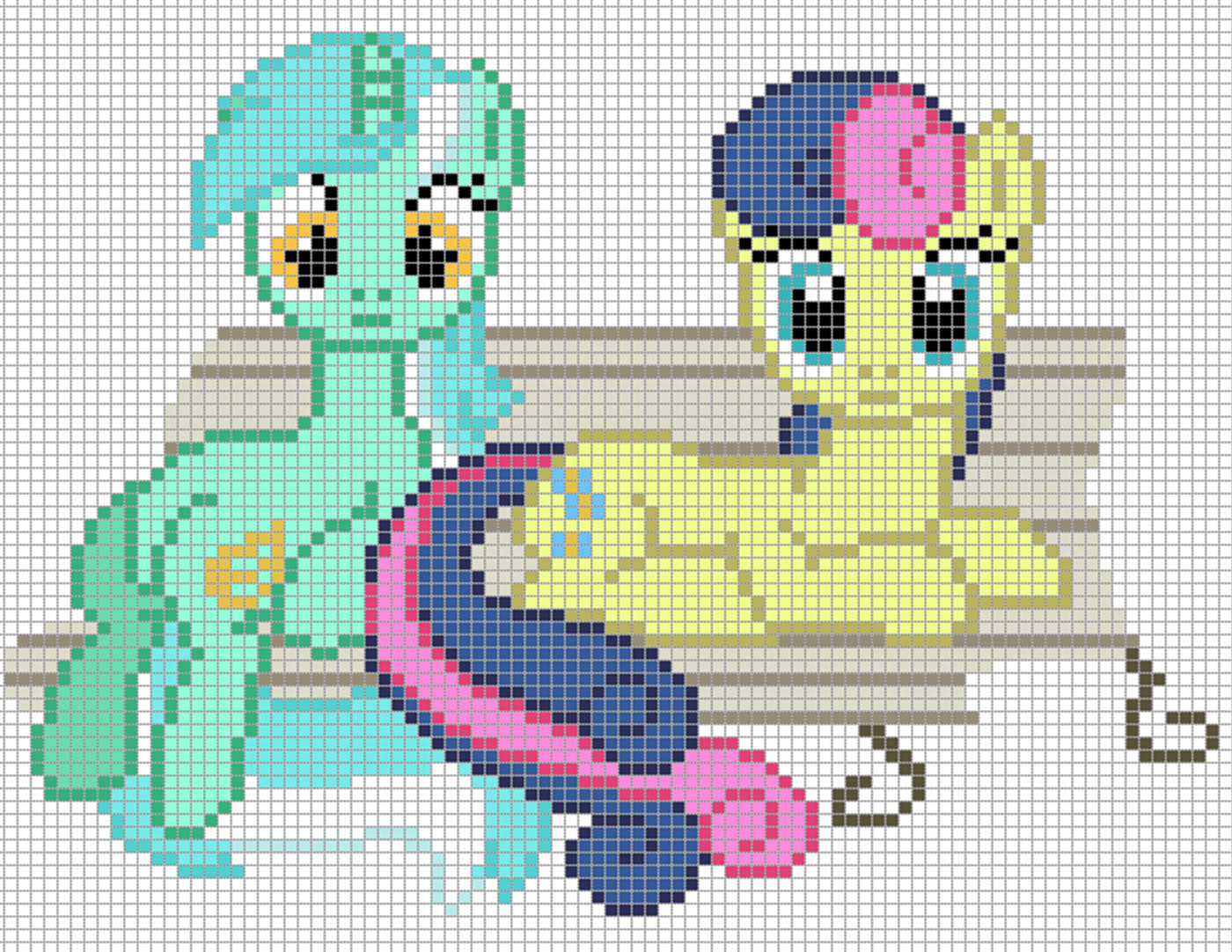 Mlp Pixel Art Template Lyra Heartstrings with Bonbon Template by Axelgold On
