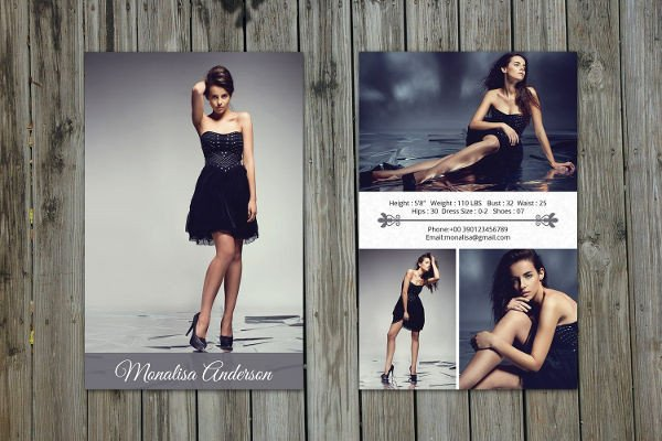 Model Comp Card Template 8 P Card Templates Free Sample Example format