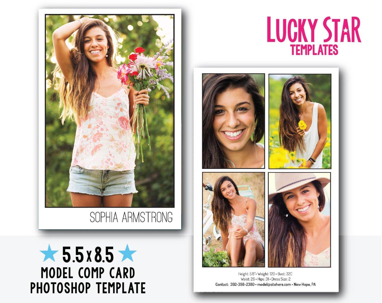 Model Comp Card Template Customizable Digital Model P Card Power Portraits