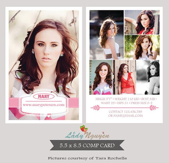 Model Comp Card Template Instant Download Modeling P Card Shop Templates