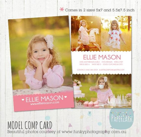 Model Comp Card Template Model P Card Shop Template Am001 Instant