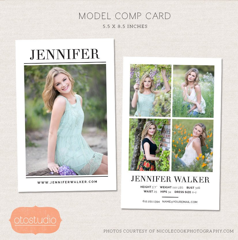 Model Comp Card Template Model P Card Shop Template Simple Chic Cm004