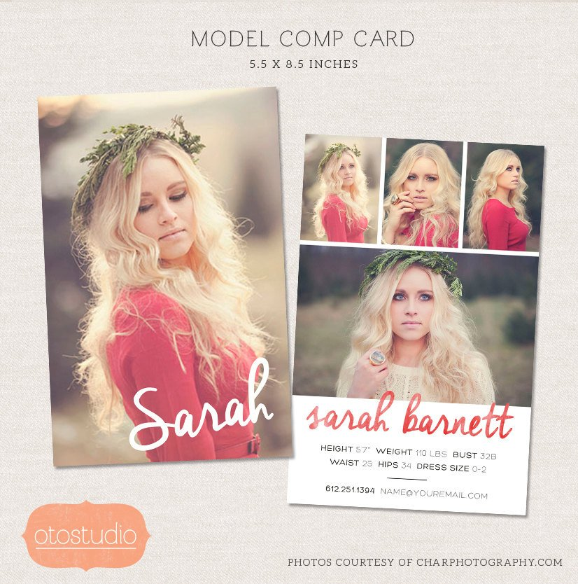 Model Comp Card Template Model P Card Shop Template Watercolor Chic Cm001