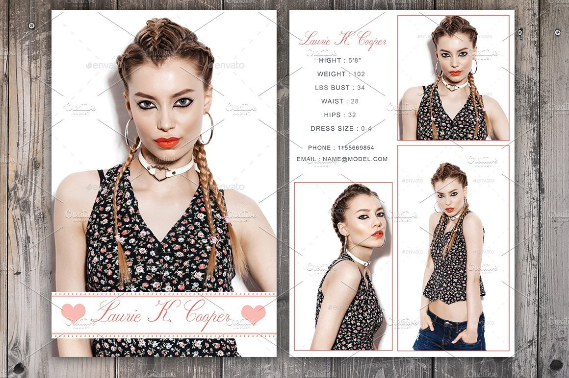 Model Comp Card Template Modeling P Card Template Card Templates Creative Market