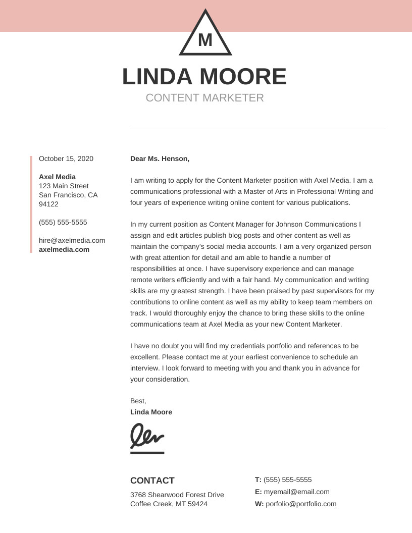 Modern Cover Letter Template 20 Cover Letter Templates You Can Customize [ Tips