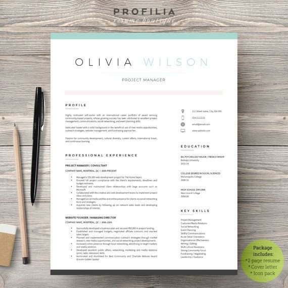 Modern Cover Letter Template 25 Best Ideas About Resume Templates On Pinterest