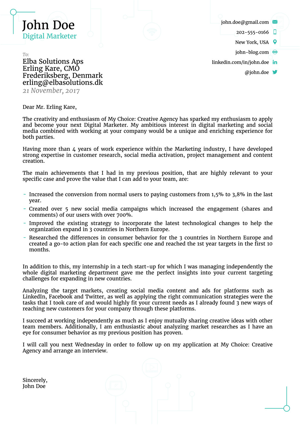 Modern Cover Letter Template 8 Cover Letter Templates for 2019 [that Hr Will Love ]
