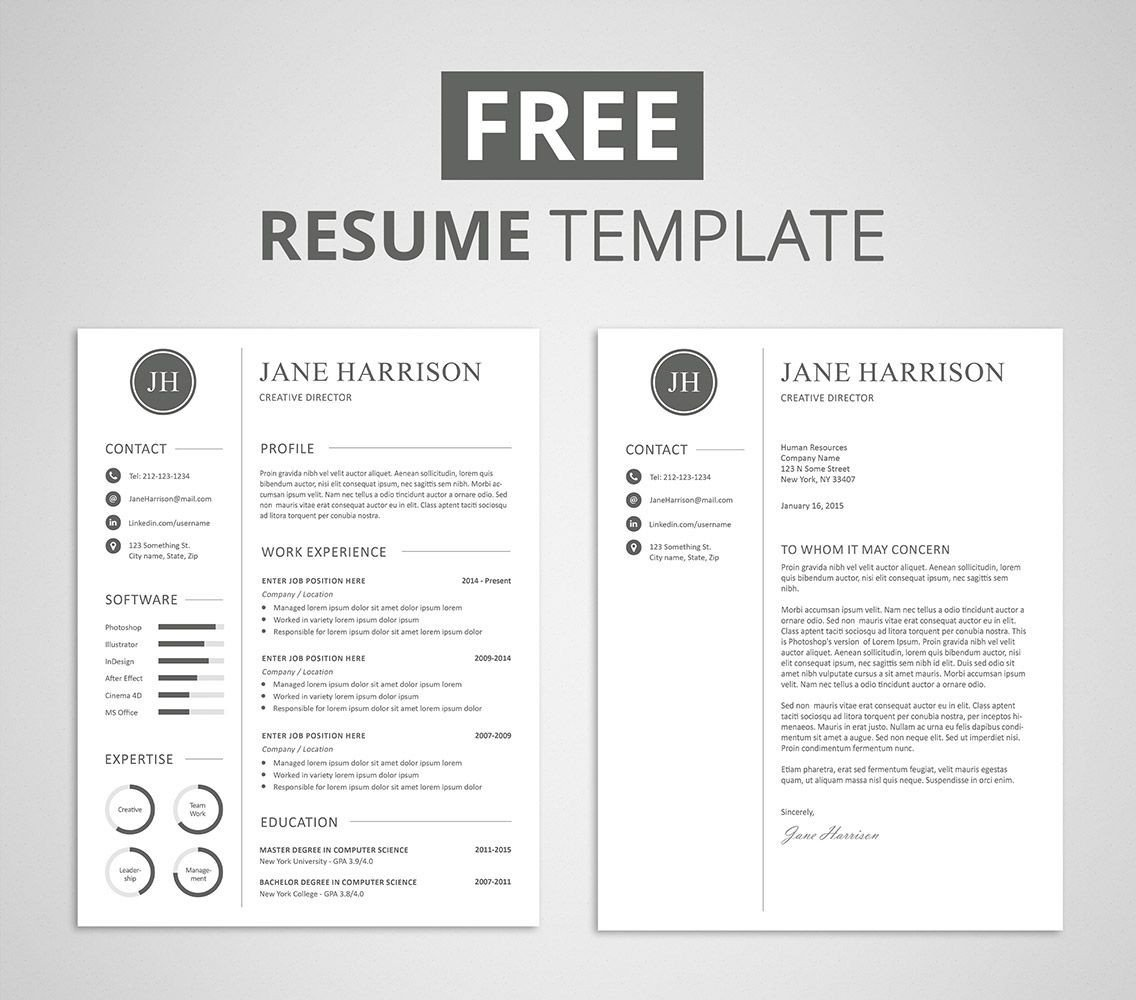 Modern Cover Letter Template Free Modern Resume Template that Es with Matching Cover