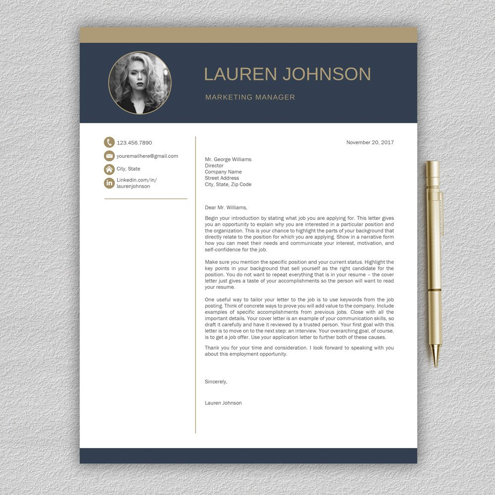 Modern Cover Letter Template Modern Resume Template Cv with Cover Letter
