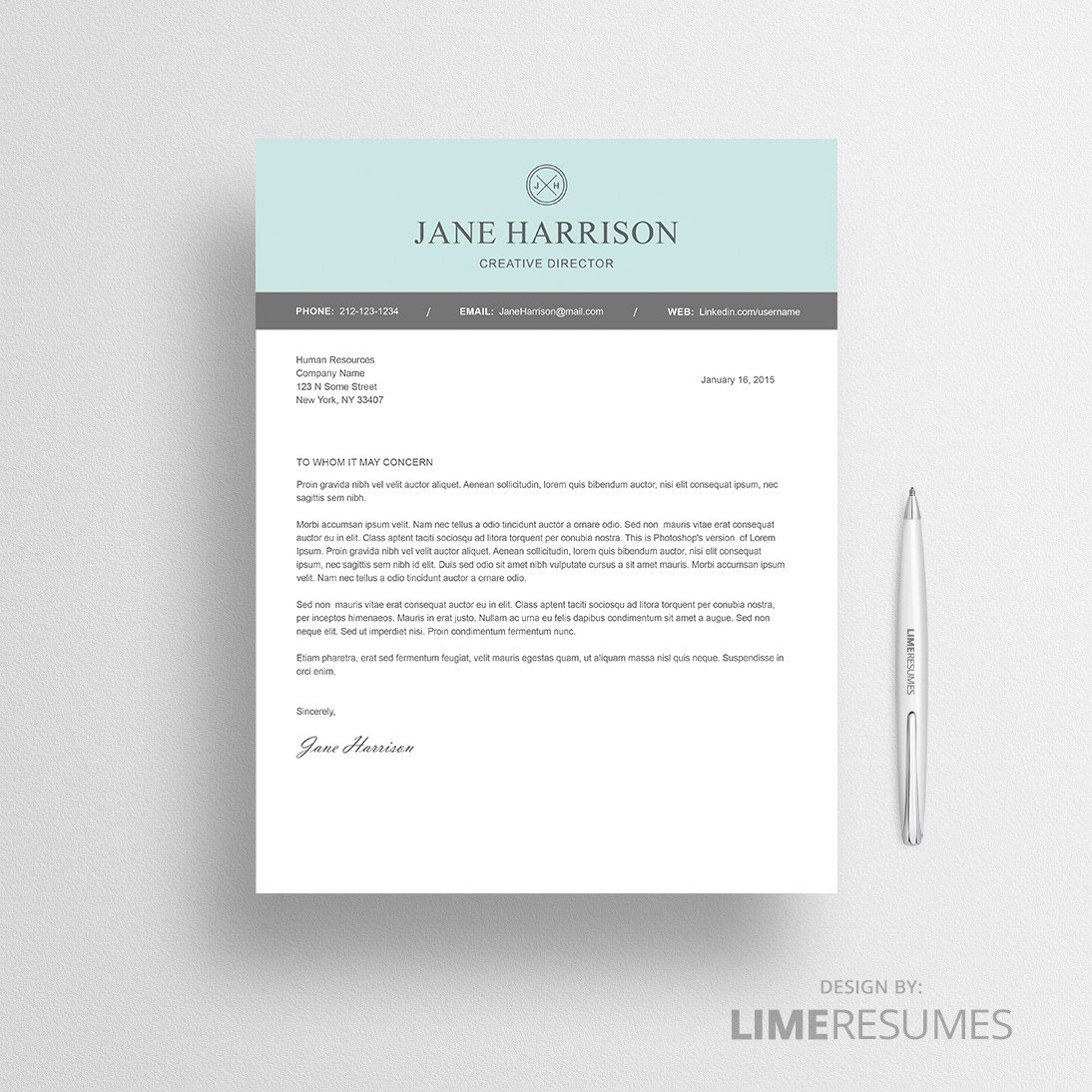 Modern Cover Letter Template Modern Resume Template for Microsoft Word Limeresumes