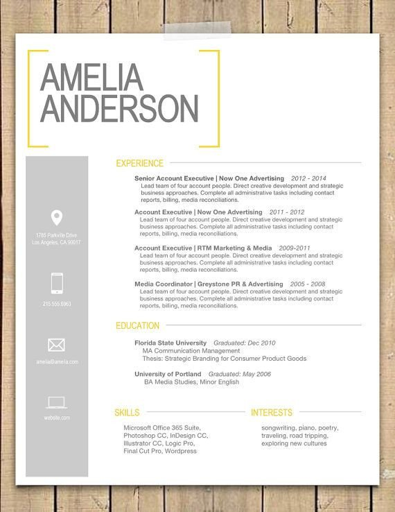 """Modern Cover Letter Template Resume Template the """"sara"""""""