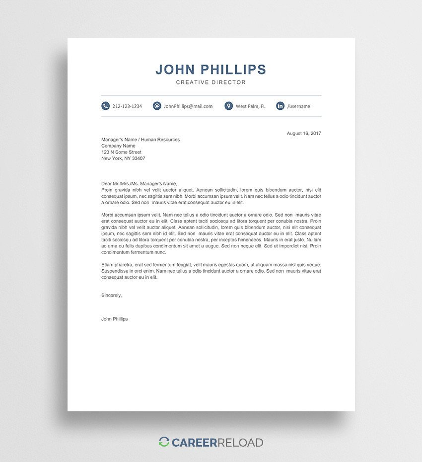 Modern Cover Letter Templates Free Cover Letter Templates for Microsoft Word Free Download