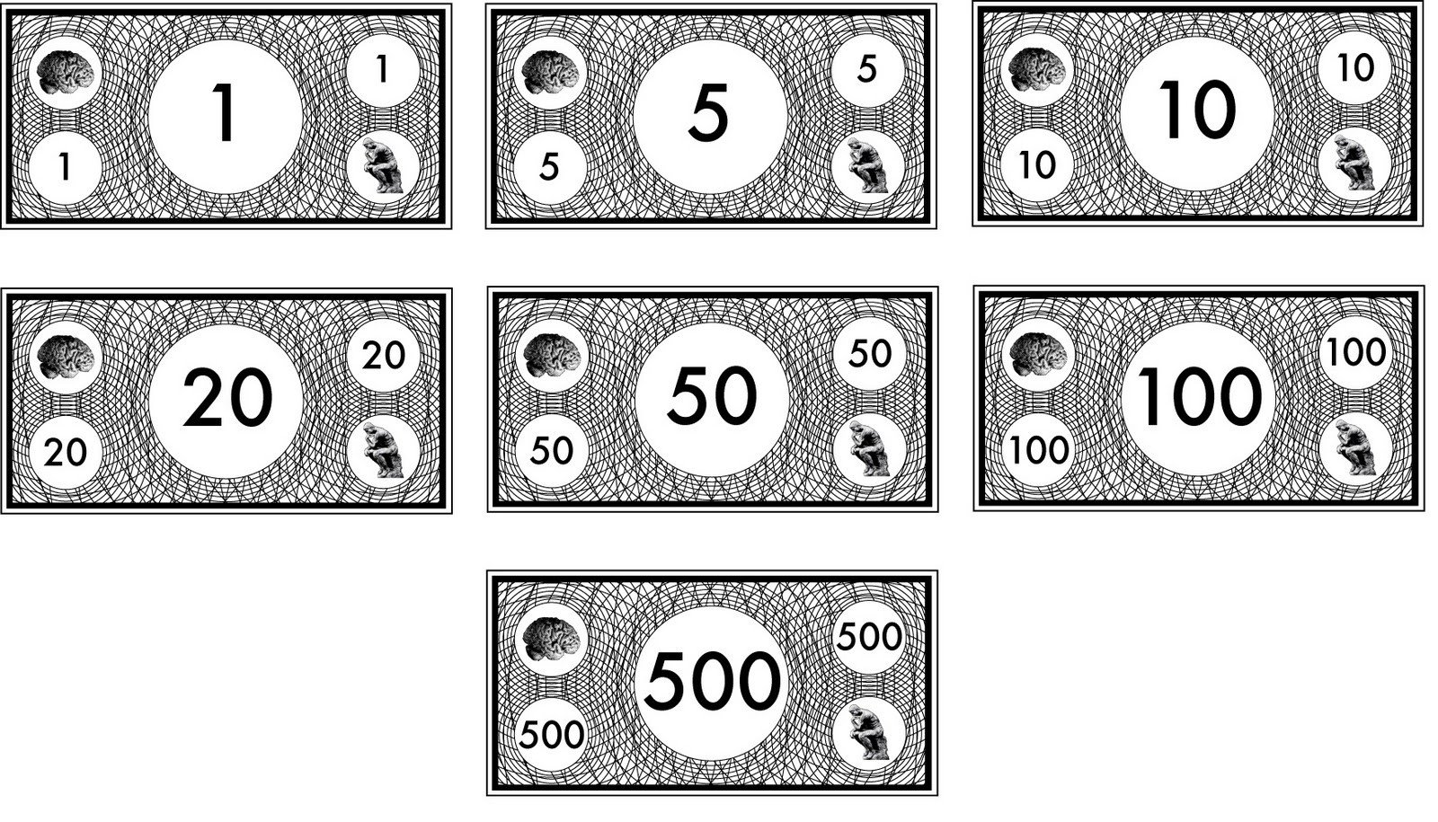 Monopoly Money Black and White Design Practice Final Money Design