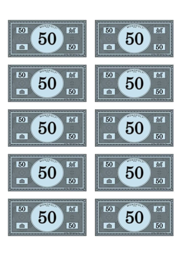 Monopoly Money Black and White Monoploy Money 50 Ra