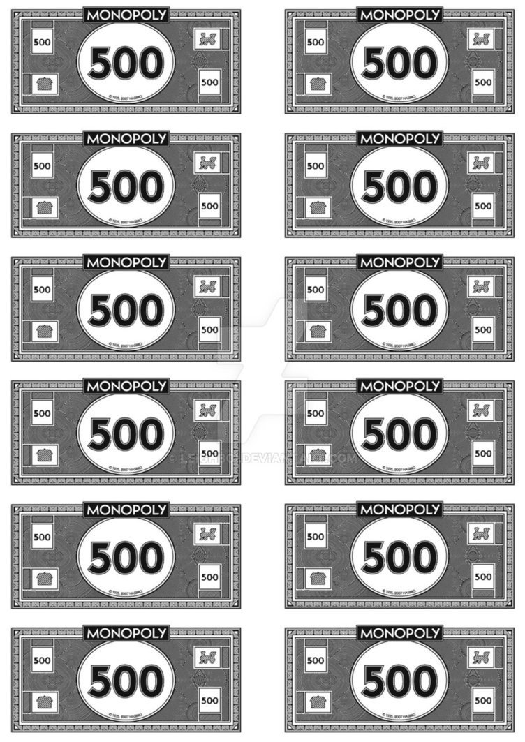 Monopoly Money Black and White Monopoly Money 500 S by Leighboi On Deviantart