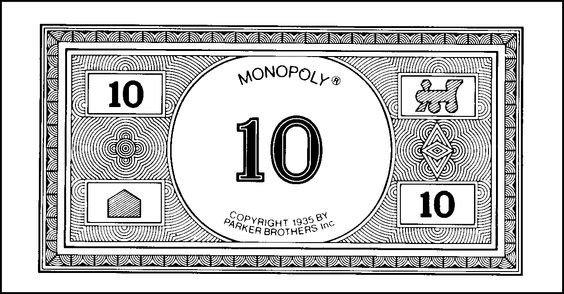 Monopoly Money Black and White Monopoly Money