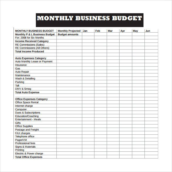 Monthly Business Expense Template 16 Sample Business Bud Templates Word Pdf Excel