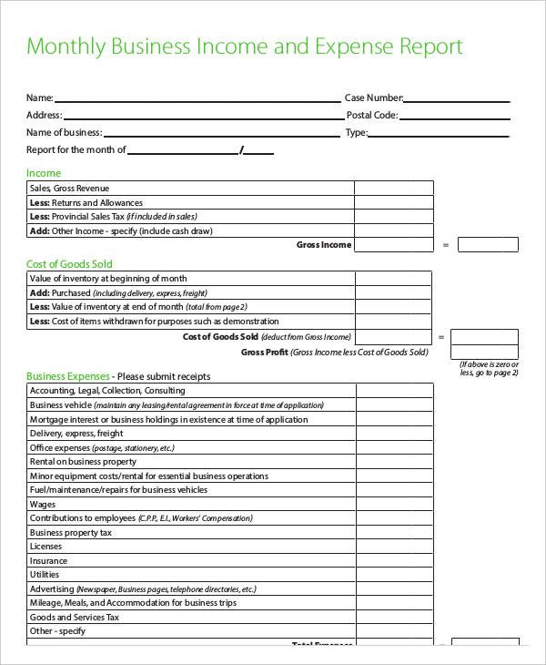 Monthly Business Expense Template 41 Expense Report Templates Word Pdf Excel