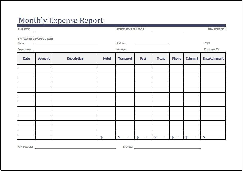Monthly Business Expense Template Monthly Expense Report Template