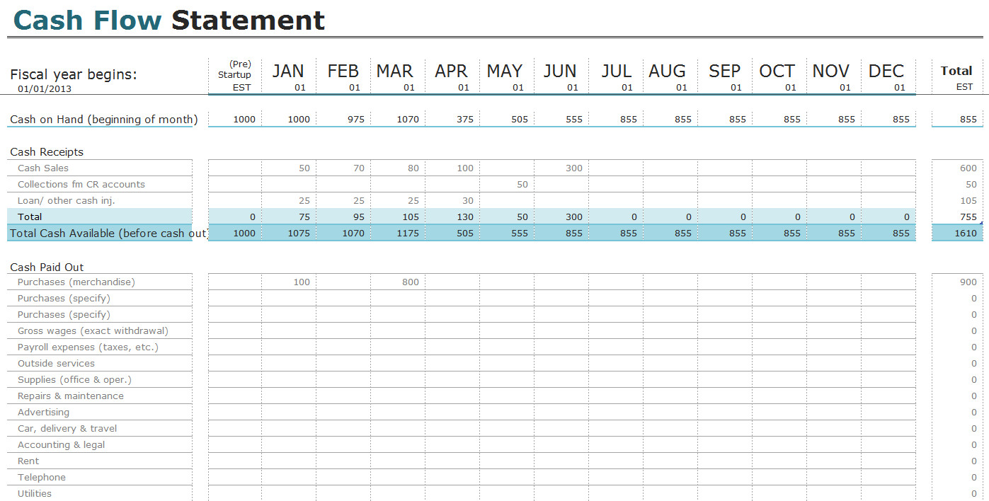 Monthly Cash Flow Template Free Cash Flow Statement Templates for Excel