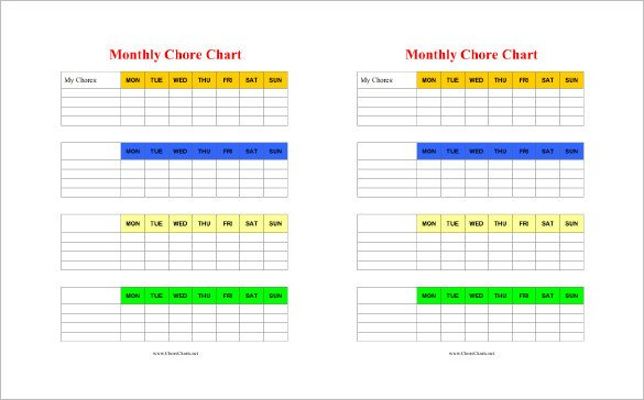 Monthly Chore Chart Template 11 Chore Chart Template Free Sample Example format