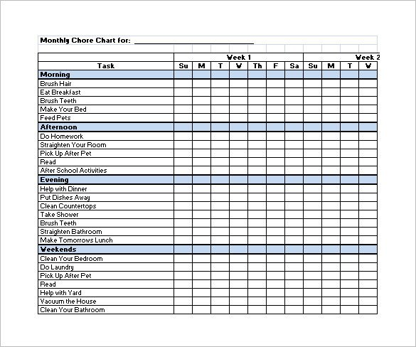 Monthly Chore Chart Template Family Chore Chart Template – 13 Free Sample Example