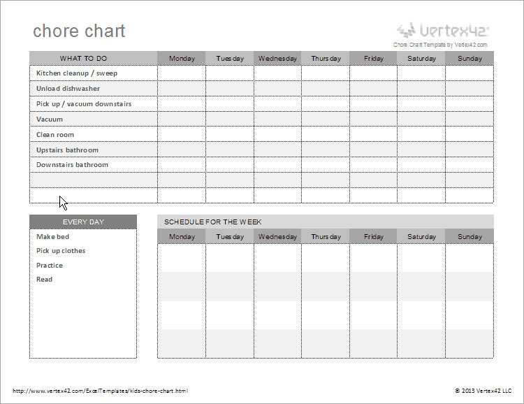 Monthly Chore Chart Template Free Kids Chore Chart Template