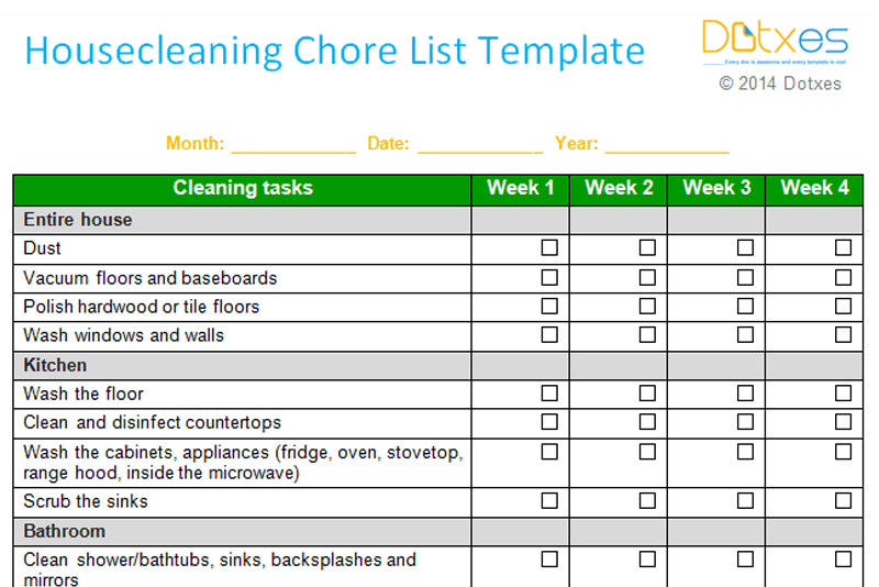 Monthly Chore Chart Template House Cleaning Chore List Template Weekly Dotxes