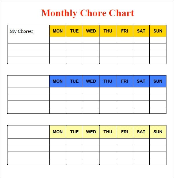 Monthly Chore Chart Template Sample Chore Chart 9 Documents In Word Excel Pdf