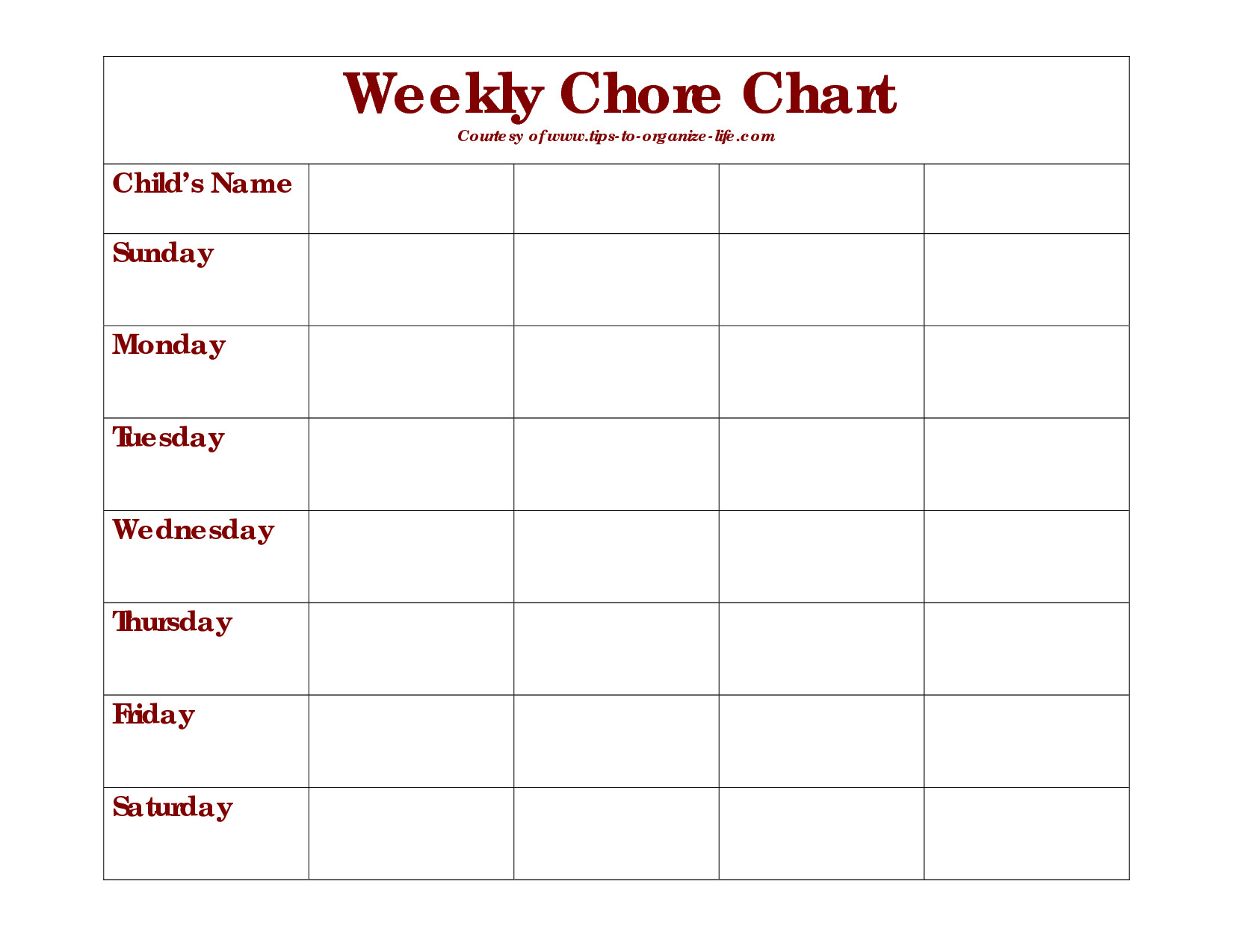 Monthly Chore Chart Template Weekly Chore Chart