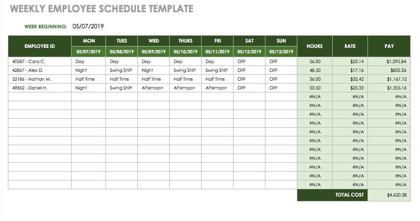 Monthly Employee Schedule Template Excel 17 Free Timesheet and Time Card Templates