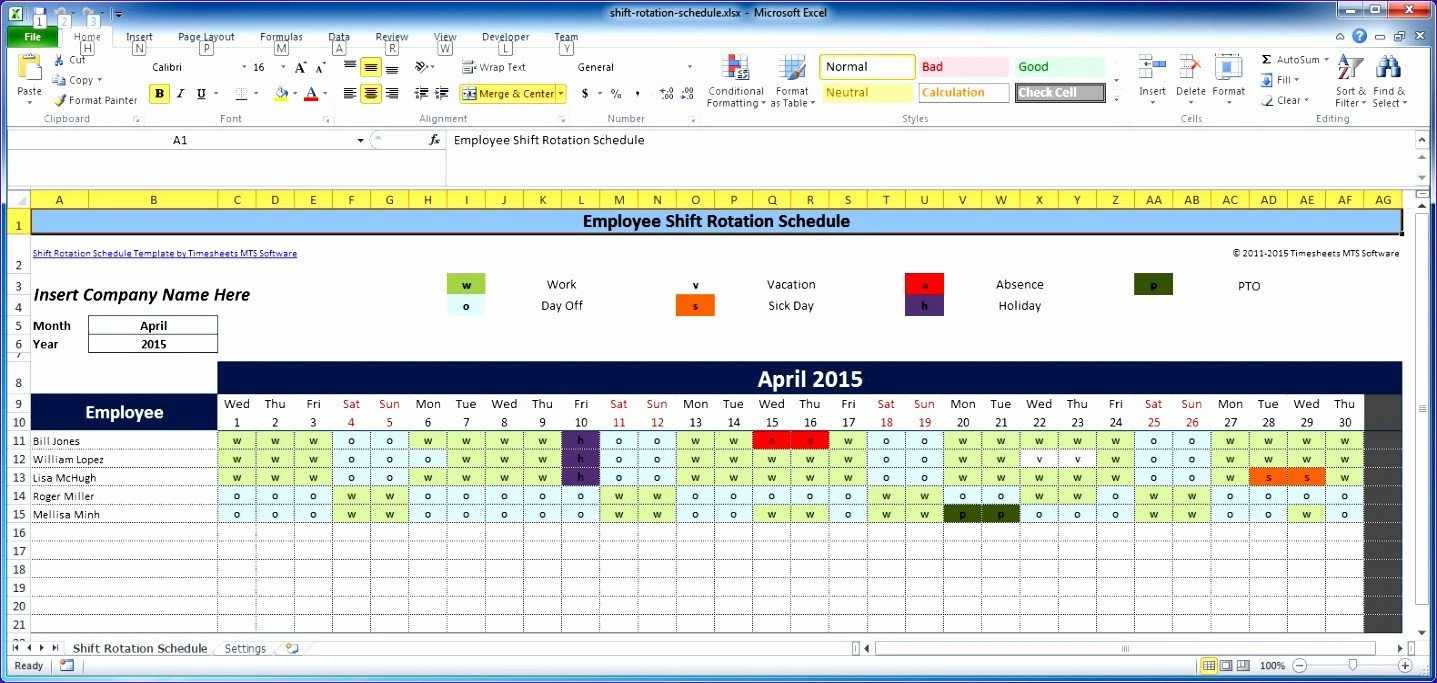Monthly Employee Schedule Template Excel 7 Free Excel Timesheet Template Multiple Employees