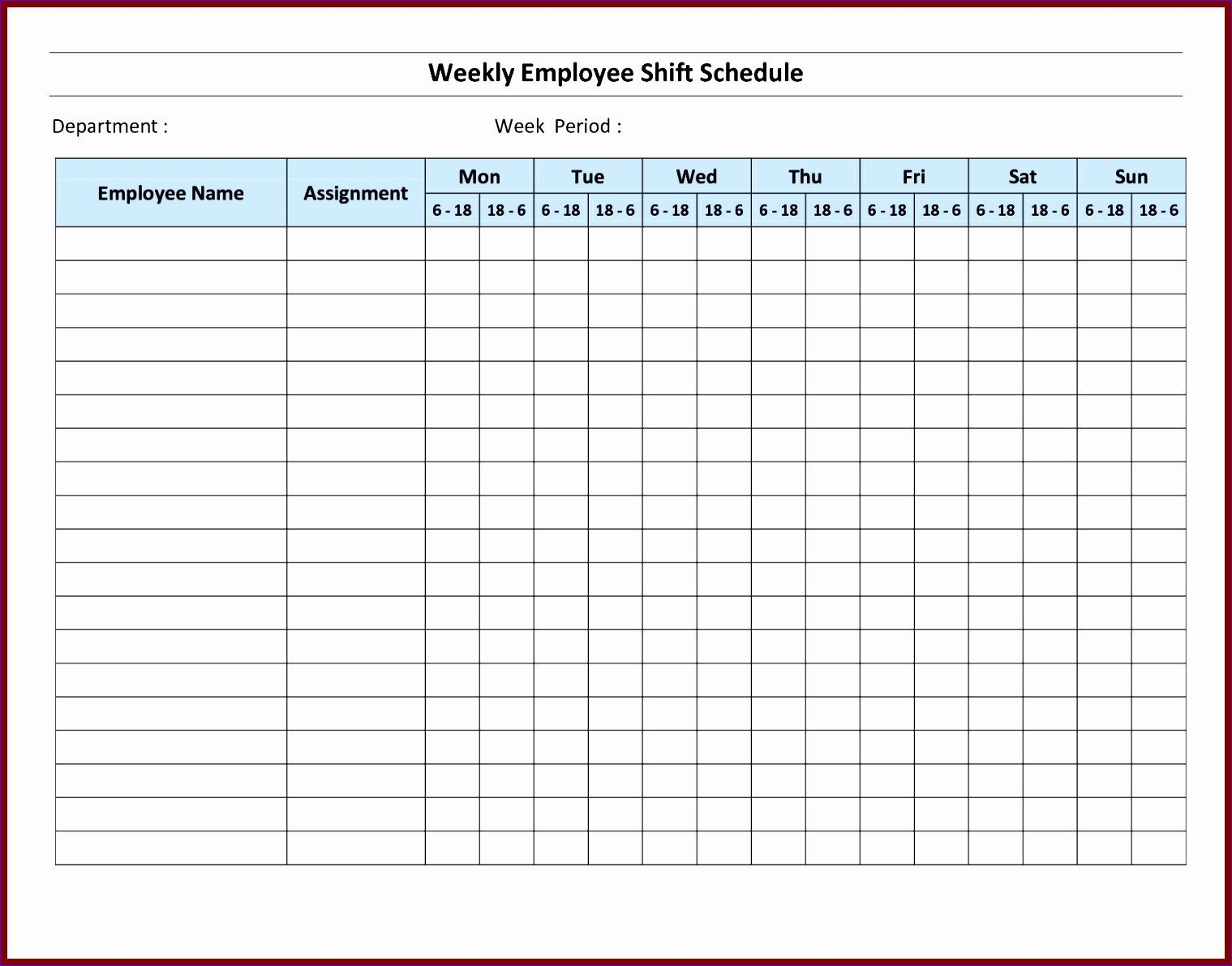 Monthly Employee Schedule Template Excel 7 Monthly Staff Schedule Template Excel Exceltemplates