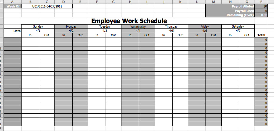 Monthly Employee Schedule Template Excel Employee Work Schedule Template Microsoft Fice Templates
