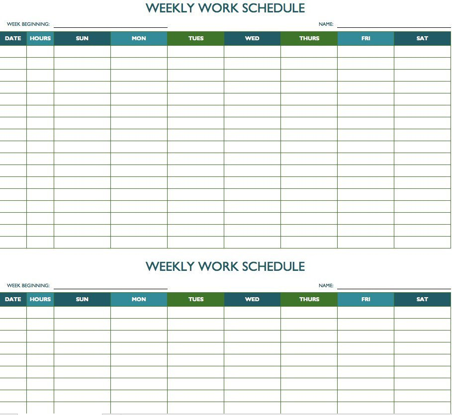 Monthly Employee Schedule Template Excel Free Weekly Schedule Templates for Excel Smartsheet