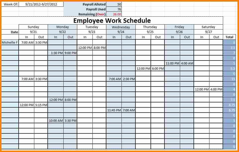 Monthly Employee Schedule Template Excel Monthly Employee Schedule Template Excel
