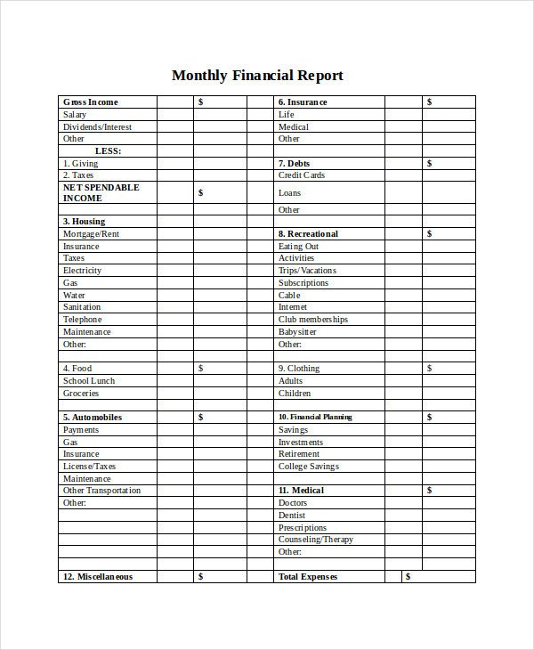 Monthly Financial Report Template 33 Report Templates