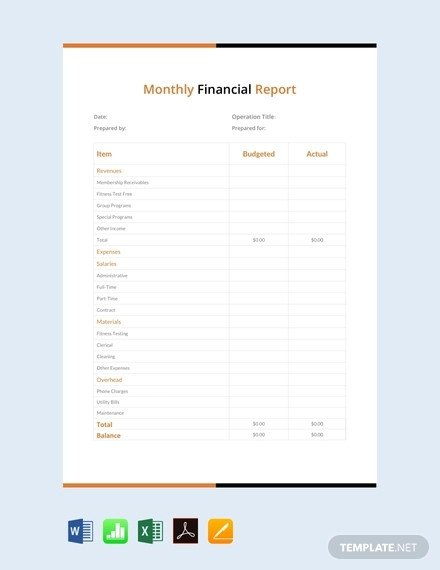 Monthly Financial Report Template 43 Monthly Management Report Templates Pdf Google Docs