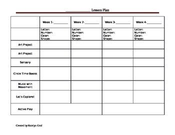 Monthly Lesson Plan Template Monthly Preschool Lesson Plan Template by Katey S Child