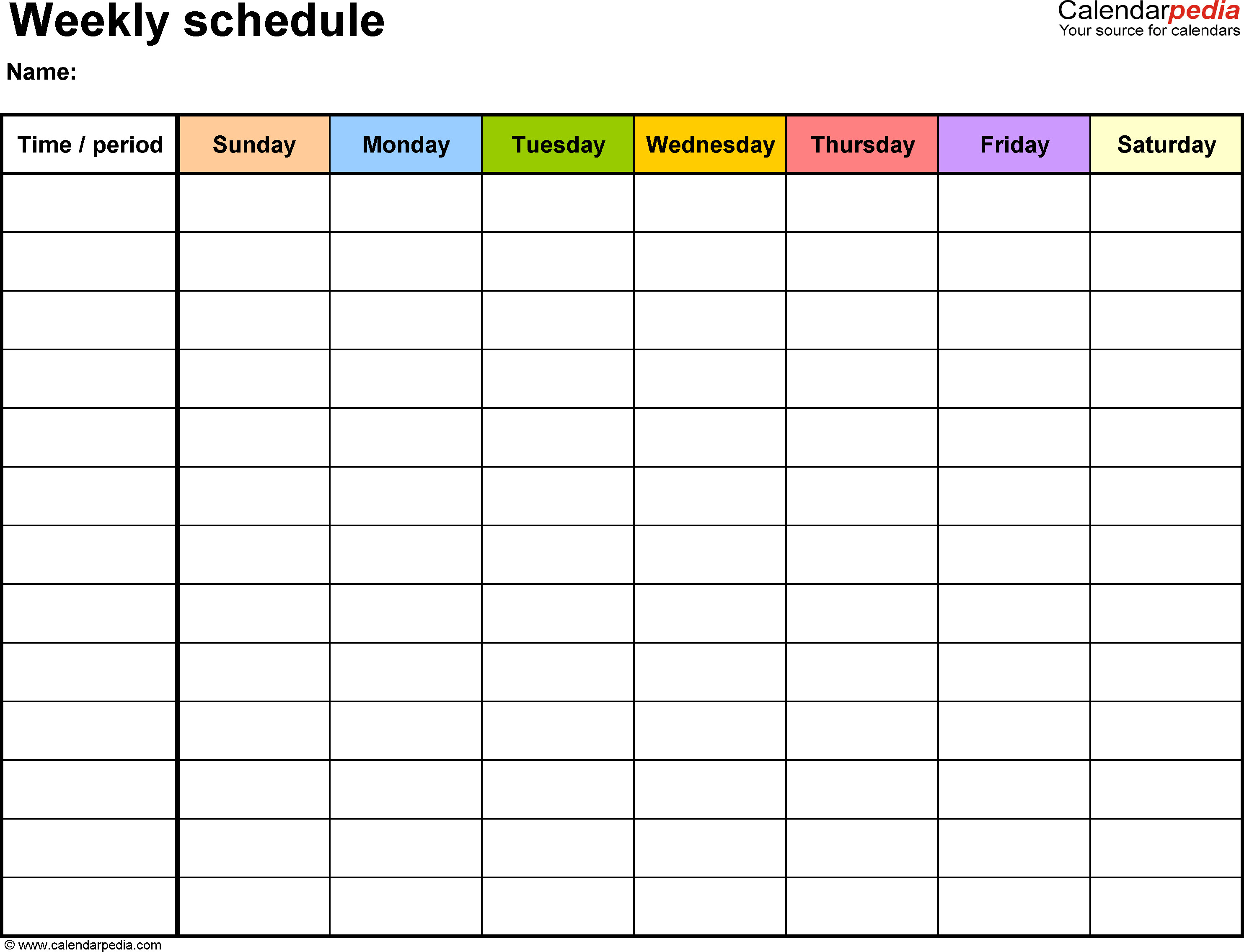 Monthly Schedule Template Excel Free Weekly Schedule Templates for Excel 18 Templates