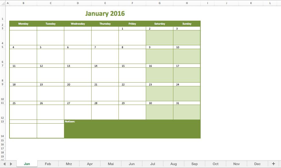 Monthly Schedule Template Excel Monthly Calendar 2016 Excel