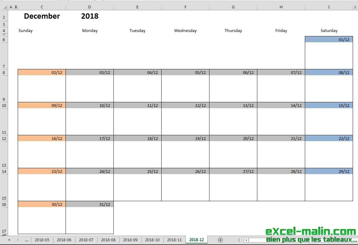 Monthly Schedule Template Excel Printable Monthly Calendar Template for Excel