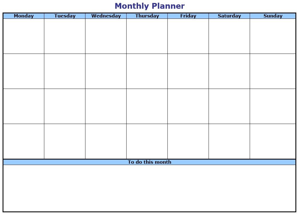 Monthly to Do List Template 10 Free Sample Monthly to Do List Templates Printable